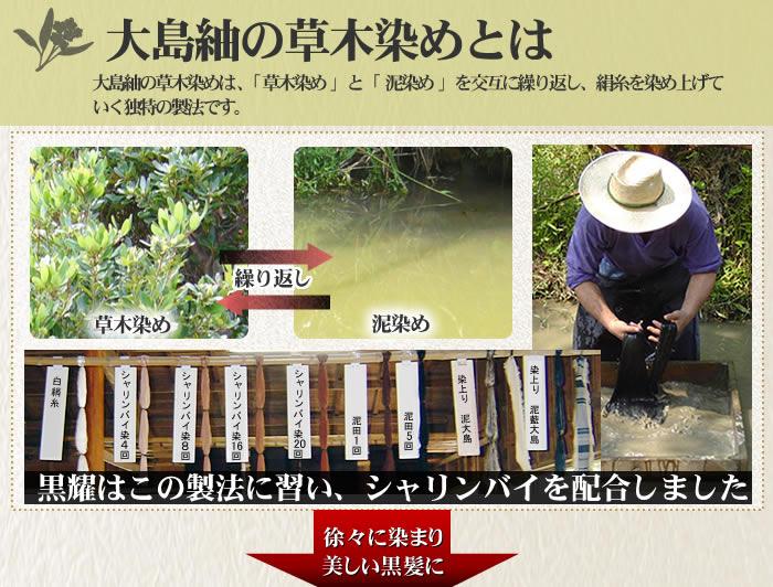 黒耀シャンプーQS&ヘアパックQS/大島紬の製法に習い黒耀はシャリンバイを配合しました